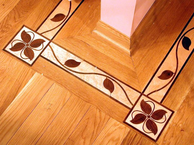 Inlays borders and medallions heritage wood floors for Wood floor medallions inlay designs